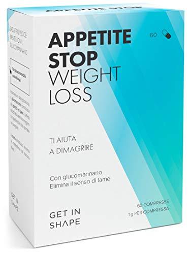 APPETITE STOP - pillole dimagranti soppressori dell'appetito con glucomannano (1000mg/pastiglia) dalla radice del konjac - 60 pastiglie dimagranti da Get In Shape