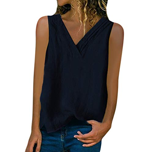 YBWZH Damen Oberteil Ärmelloses Westentop V-Ausschnitt T-Shirts Große Größe Pullover Tank Tops Elegant Blusentop Shirt Sommer Tunika Hemdbluse Bluse T-Shirt Weste