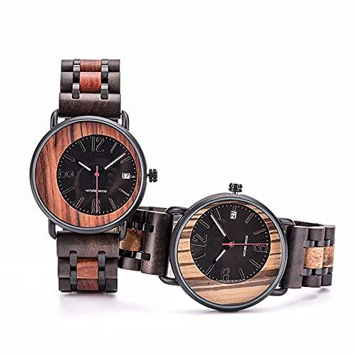 yuyan 2 unids marido y esposa reloj de madera hecho a mano casual negocios moda cuarzo amor testimonio modelado creativo combinación de tecnología y naturaleza hombres relojes de las mujeres