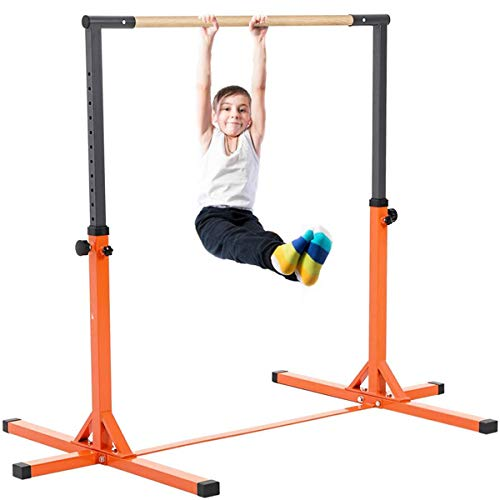 Outroad Gymnastics Horizontal Bars Training Bar for Kids Girls Junior, Adjustable Height Kip Bar with Added Stability-Gym Pro Gymnastics Bar, Home Gym Equipment,Orange