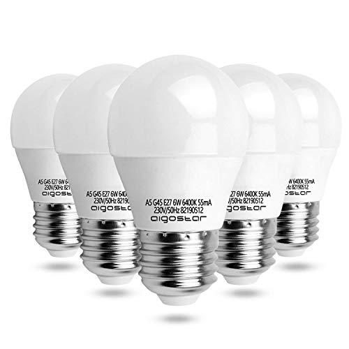 Aigostar - Bombilla LED A5 G45, E27 6W, 003820, big angle, casquillo gordo, luz blanca 6400K pack de 5