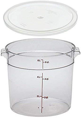 Cambro RFSCW6135 Camwear 6-Quart Clear Round Food Storage Container with Cambro RFSCWC6135 Clear Round Lid