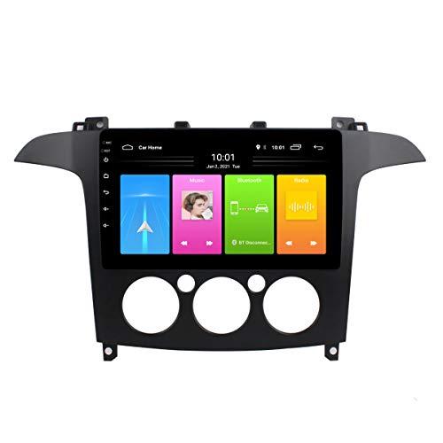 Car Radio, Android 10 Car Dvd Gps Player para Ford S-Max 2007-2008, Pantalla táctil 2.5D de 9 pulgadas, Navegación de audio y video incorporada Bt Wifi,Manual,WIFI 1G+16G