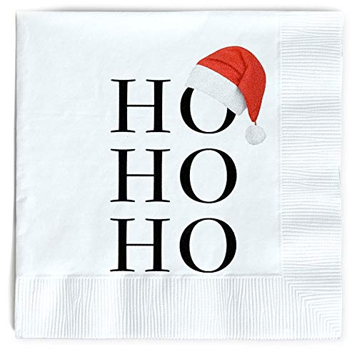 Santa Napkins Funny Christmas Napkins Paper Cute Fun Holiday Party Napkin 40 Pack, Disposable 6.5 Inches Dinner Parties, Cocktail, Luncheon, Lunch Buffet, Appetizer, Dessert