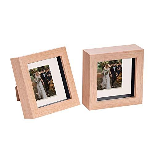 Nicola Spring 2 Stück 4 x 4 3D Shadow Box Photo Frame Set - Craft Anzeigen Bilderrahmen mit 2 x 2 Montieren - Glas Aperture - Hellen Holz/Elfenbein