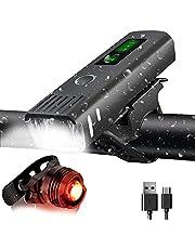 DAWNTREES Bike Light Set, Bicycle Light, USB Rechargeable Smart Sensor Headlights, Bike Tail Lights, Flashlight Lights, 2000mAh IPX5 Waterproof, 4 Modes, Suitable for All Road/Mountain Bikes.