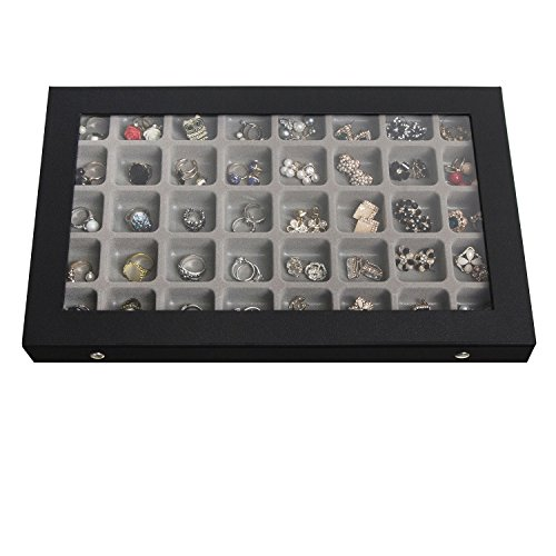 JackCubeDesign 40 Compartments Jewelry Display Tray Showcase...