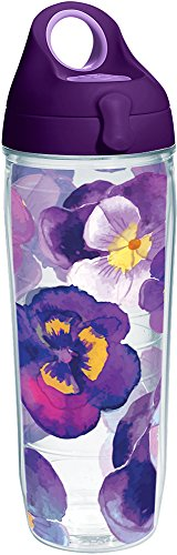 Tervis Watercolor Pansy Tumbler with Wrap and Purple Lid 24oz Water Bottle, Clear