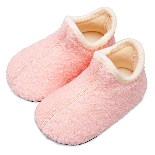Scurtain Kids Toddler Slippers Socks Artificial Woolen Slippers for Boys Girls Baby with Non-Slip Rubber Sole 2026 Pink Toddler 6-7