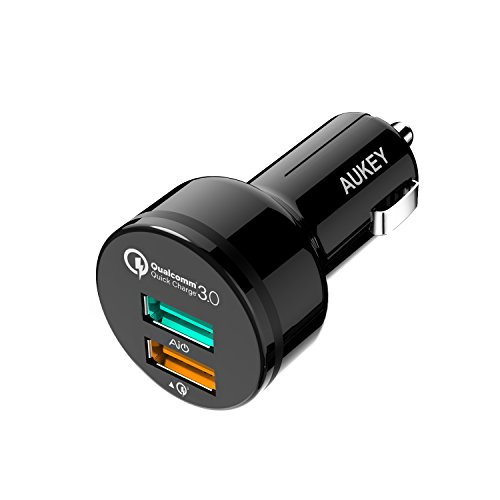 Quick Charge 3.0 Car Charger, AUKEY 34.5W 3A Dual Car Adapter Fast Charger for iPhone XS/XR/XS Max/8/8 Plus, Galaxy S8 S7 Note8 and More Smartphones - Black