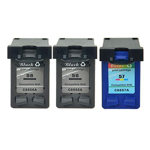NineLeaf Cartouches d'encre remanufacturées HP 56 57 Haute Capacité Compatible pour HP Deskjet 5150 5550, HP Officejet 5610, HP PSC 1210 1215 2110 2175 HP Photosmart 7762 7960 2 Black, 1 Color)