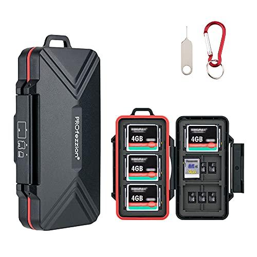 PROfezzion Soporte para Tarjeta SD Estuche de Transporte para Tarjeta de Memoria Caja de Almacenamiento Protectora para 12 SD + 18 Tarjetas Micro SD / TF + 6 Tarjetas CF Compact Flash (36 Ranuras)