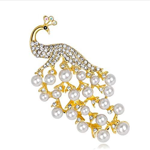 baratos y buenos BABIFIS Delicados broches 18K, ramilletes de pavo real, perlas blancas, alfileres de boda … calidad