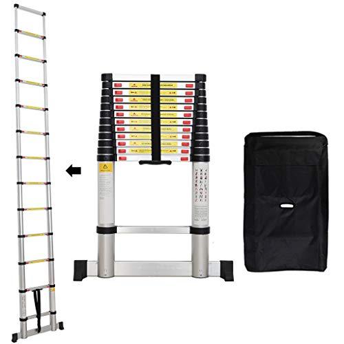 Sotech - Klappleiter, Teleskopleiter, 3,8 Meter, Stabilisierungsstange, GRATIS Tragetasche, EN 131, Maximale Belastbarkeit: 150 kg, Standard/Zertifizierung: EN131