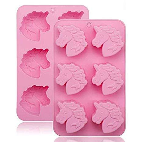 Große Einhorn-Silikonform für Seife, 2 Stück/Set, 3D-Kuchenform, Backform, Kuchenform, Kekse, Schokolade, Eiswürfel, 6 Rosen