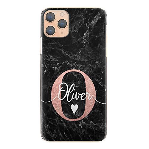 Personalisiert Initialen Harte Handy Hülle Für HTC One X10 (2017), Schwarz Marmor Druck Mit Herz, Pink Persönliche Initialen & Weiß Name, Harte Handy Cover