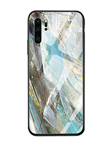 Oihxse Compatible for Huawei P20 Pro Case Glass with Design, Slim Fit Tempered Glass Back Fashion Pattern [Anti-Yellow] [Non-Fade] Cover Shockproof TPU Bumper Skin Shell for Huawei P20 Pro-Blue2