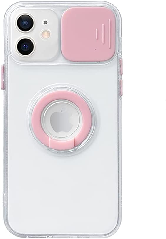 Caseative Candy Color Ring Holder Slide Lens Camera Cover Protection Clear Soft iPhone Case (Pink,iPhone 8/7 / SE)