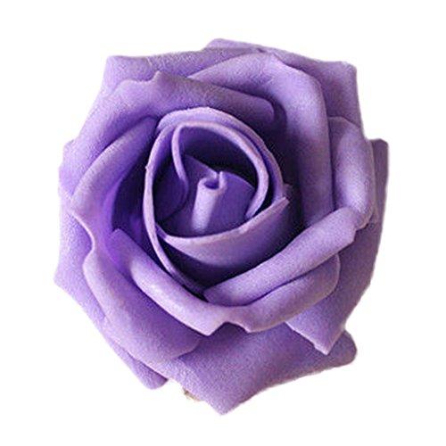 50Rosenblüten, aus Schaumstoff, Blütenkopf, künstliche Blume, Dekoration, zum Basteln, für Garten und Haus violett