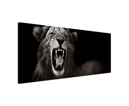 Unique Wunderschönes Wandbild 150x50cm Tierbilder – Brüllender afrikanischer Löwe schwarz weiß