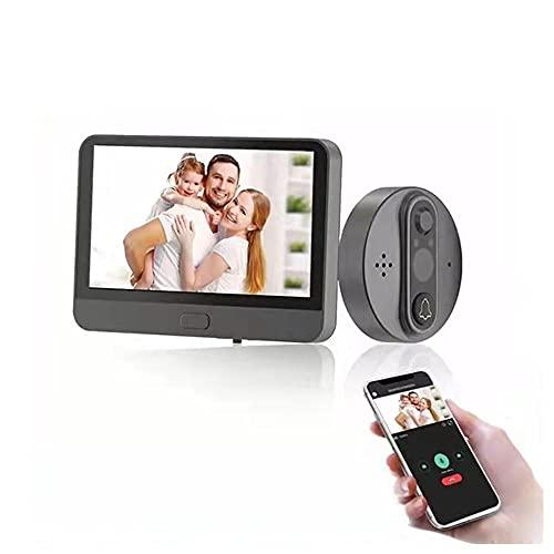 Mirilla de puerta digital WiFi con pantalla de 4,3 pulgadas, timbre de vídeo inteligente 720P, videocámara, visión nocturna, monitor Cat Eye (4,3 pulgadas), mirilla de puerta wifi.
