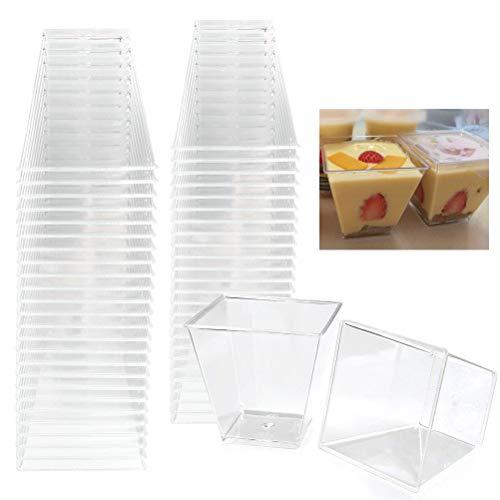 ATPWONZ Einweg Dessertschalen | Mini-Kunststoff-Dessertschalen | Kleine Plastikbecher | Quadratische Schüsseln Puddings & Tasters(50 Stück)