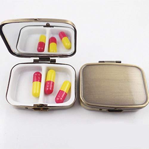 Cuadrado de Metal Bronce Antiguo Pastillero Titular 2 Rejillas Estuche de Medicina Estuche portátil pequeño Contenedor Divisores personales