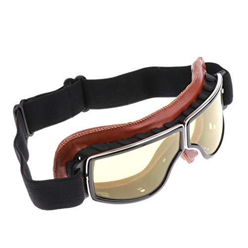 B Baosity Retro Motorradbrille Bikerbrille Fliegerbrille Pilotenbrille Moto Brille