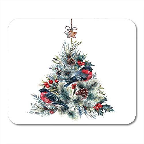 Mauspad aquarell weihnachtsbaum aus nadelzweigen tannenzapfen mousepad für notebooks, Desktop-computer mausmatten, Büromaterial