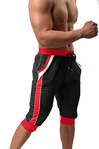 BIYLACLESEN Sweatpants for Men 3/4 Joggers for Men Gym Shorts for Men Yoga Shorts Capri Joggers Long Shorts Quick Dry Shorts Men Black Red