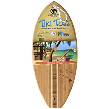 Tiki Toss Hook And Ring Toss Game – 100% Bamboo Party Game For Indoor or Outdoor Family Fun Hawaiian Island Edition (All Parts Included)