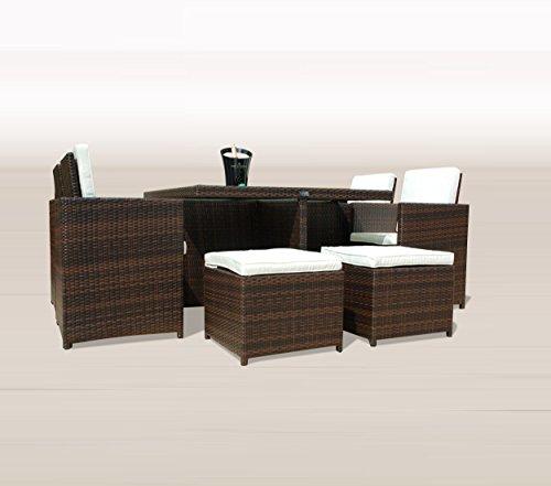 Ragnarök-Möbeldesign PolyRattan - DEUTSCHE Marke - EIGNENE Produktion - 8 Jahre GARANTIE auf UV-Beständigkeit Gartenmöbel Essgruppe Tisch + 4 Stühle & 4 Hocker 12 Polster Braun - 2