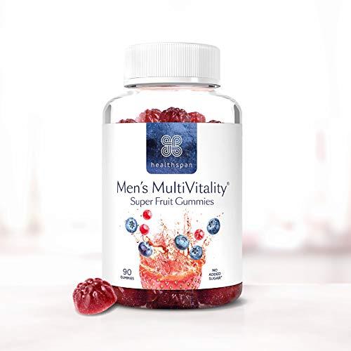 Men's Multivitamin Super Fruit Gummies | Healthspan | with Vitamin C & Vitamin D3 | Essential Micronutrients | Selenium | Zinc | Boosts Immunity | No Added Sugar (90 Gummies)