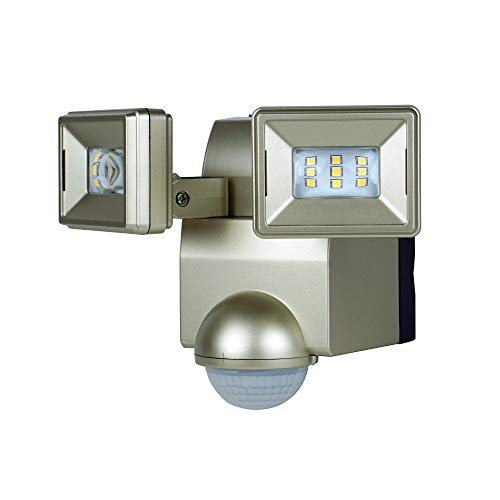 LB1870CH700 Lumen Battery Operated Ultra Bright LED Motion Security, Motion Sensor, Motion Activated Flood Light, Wall or Eave Mount Twin Head includes L-bracket for easy mounting Champaign finish