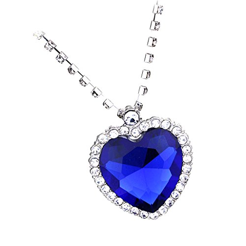 sharprepublic Titanic Collar Colgante de Cristal Azul para Chica Mujer