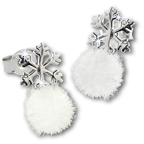 Teenie-Weenie - Orecchini a forma di fiocco di neve PomPom 925, in argento per bambini SDO8551W