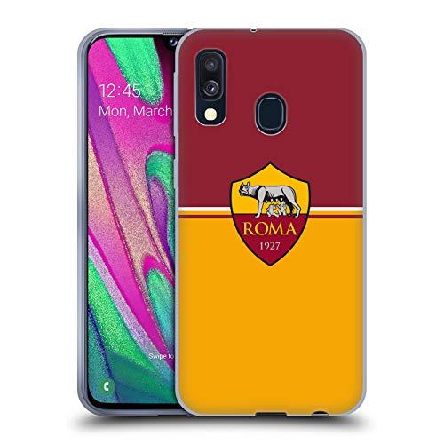 Head Case Designs Offizielle AS Roma Fahne Kamm Soft Gel Handyhülle Hülle Huelle kompatibel mit Samsung Galaxy A40 (2019)