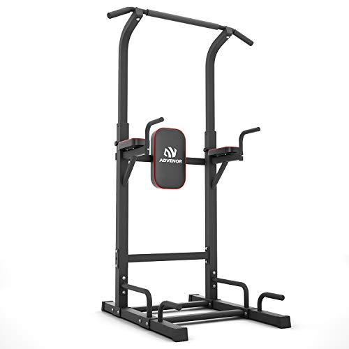 ADVENOR Power Tower Dip Station Pull Up Bar for Home Gym Dip Stands Strength Training Workout Equipment (RED)