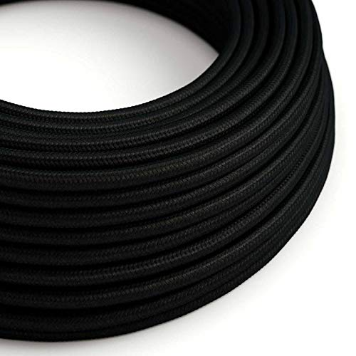creative cables Fil Électrique Rond Gaine De Tissu De Couleur Effet Soie Tissu Uni Noir RM04-5 mètres, 2x0.75