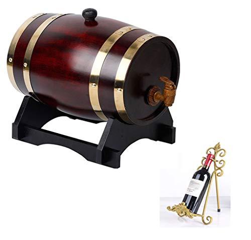 Yimihua Barril de Vino Rack de Vino de Barril de Roble 5L, Vintage de Madera Barril de Madera de Roble, Vino Tinto Licores de Vino Cubo de Whisky (con Grifo)