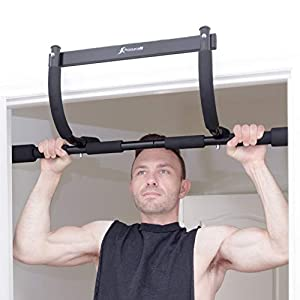 """ProsourceFit Multi-Grip Lite Pull Up/Chin Up Bar, Heavy Duty Doorway Upper Body Workout Bar for Home Gyms 24""""-32"""" (ps-1240-cu-basic), Black"""