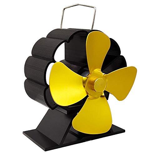 SHOUTAOB Mini ventilador de chimenea negra de 4 aspas con calor para estufa de leña, quemador de madera Eco Silnet Ventilador de distribución eficiente del calor RZTZDM (color: dorado)