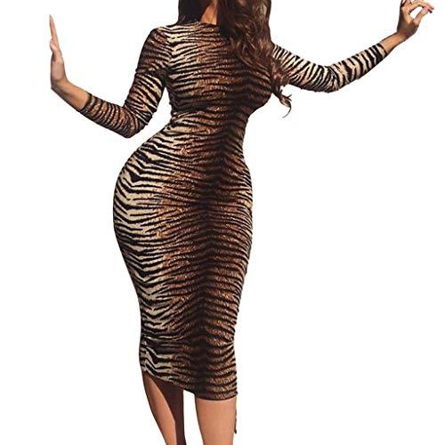 JXQ-N Damen Sexy Tiger-Muster Rundhals Langarm Bodycon Midi Club Kleid Festlich Enge Partykleid Cocktailkleid Etuikleid Bleistiftkleid