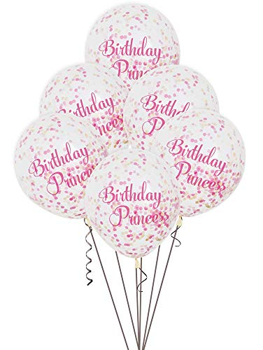 Geburtstagsprinzessin Konfetti-Luftballons - 30 cm - Rosa - 6er-Pack