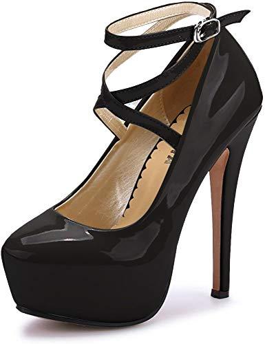 Ochenta, scarpe da donna, con cinturino alla caviglia e plateau, con tacco alto, per feste, eleganti, Nero ((Beige Sole) PU Black), 46 EU