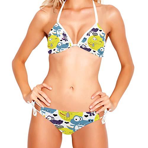 Bikinis Conjuntos para mujer Love Lindo Cocodrilo Traje de baño de playa XS-XXL