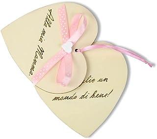 Biglietto auguri Compleanno, Festa della Mamma, cuore in legno personalizzato a mano con dedica - tema rosa