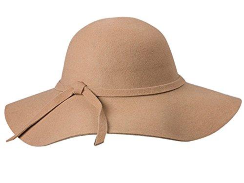 Yaheetech Yahee365 Weich Damen breite Krempe Glocke Hut Damenhut Schlapphut mit Retro Wolle Schleife Bowknot