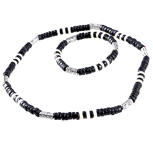 Necklace and Bracelet with Real Wooden Beads in surfer beach look design