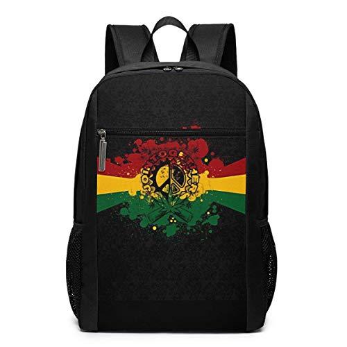 TRFashion Mochila Rasta Reggae Sign Laptop Computer Backpack 17 Inch Stylish Casual Travel Daypack Laptop Bag Schoolbag Book Bag For Men Women Black